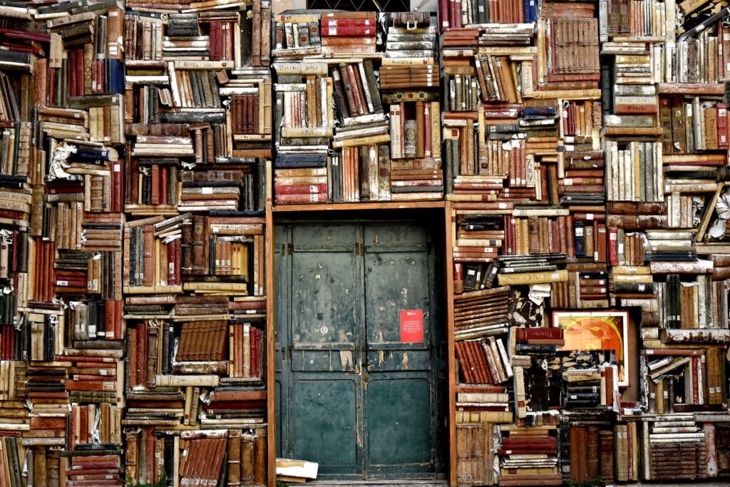 Lots of books on shelves.